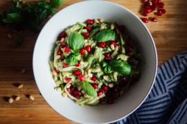 Green Amsterdam Vegan Recipe Courgetti Pesto Pomegranate seeds