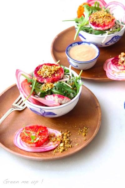 salade radis noir roquette orange poire