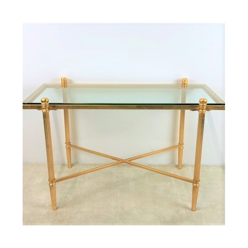 coffee table vergoldet mit glasplatte 80 x 40 x h 50 cm