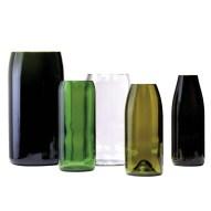 Vasenset gefertigt aus 5 verschiedenen recycelten Wein- und Champagnerflaschen
