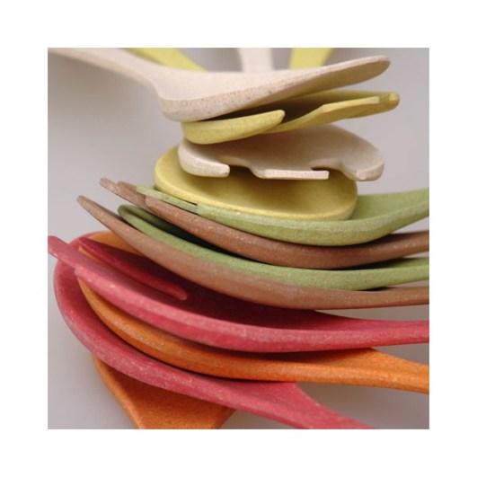 Bambus-Salatbesteck in verschiedenen Farben