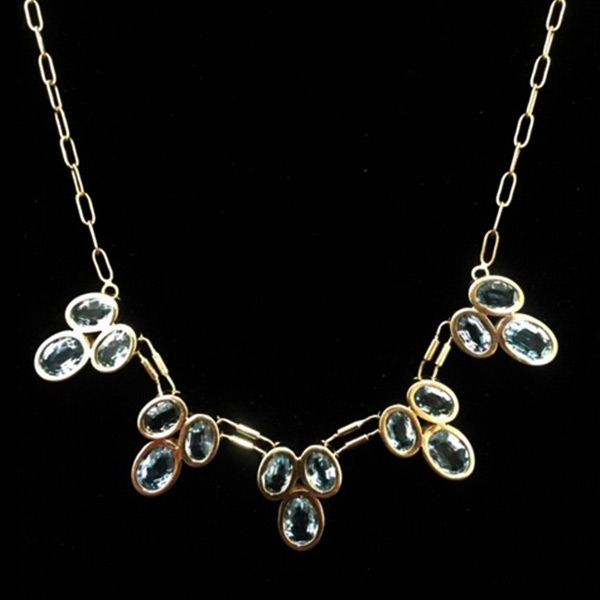 Georgous-18k-gold-and-blue-topaz-necklace - Green Acres Antiques Marietta OH