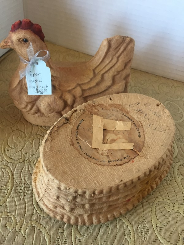 Paper Mache' Hen and Nest - Green Acres Antiques Marietta OH