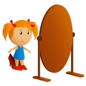 Beauty little girl looking in the mirror