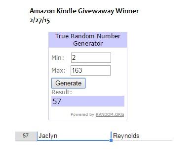 Amazon Kindle Giveaway Winner