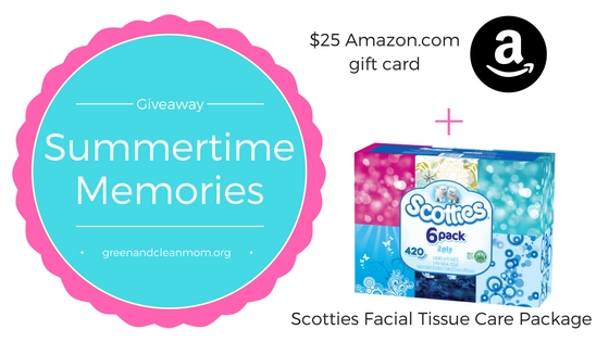 Share your summertime memories for a chance to win a Scotties Facial Tissue Care Package and $25 Amazon.com gift card!