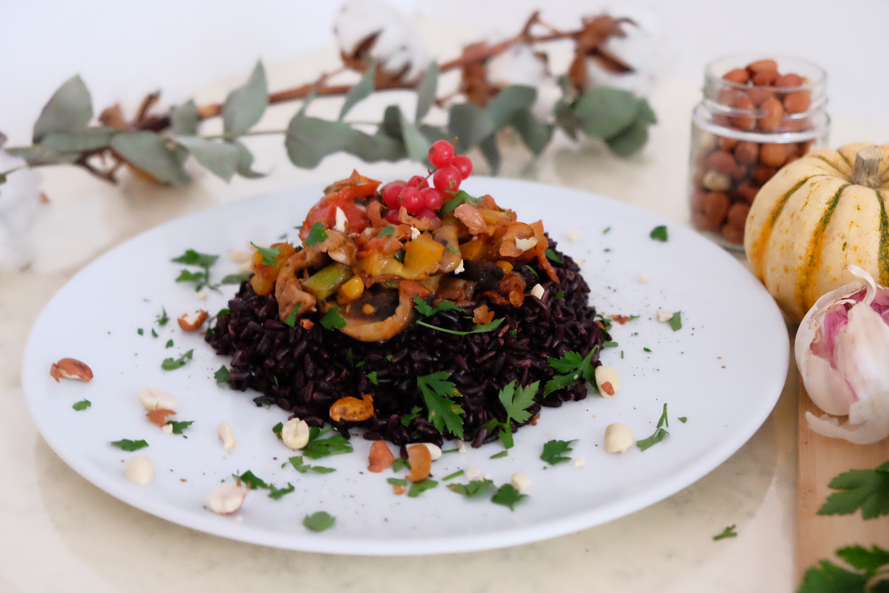 Arroz asiático saludable / Asiatique riz noir / Veggie black rice