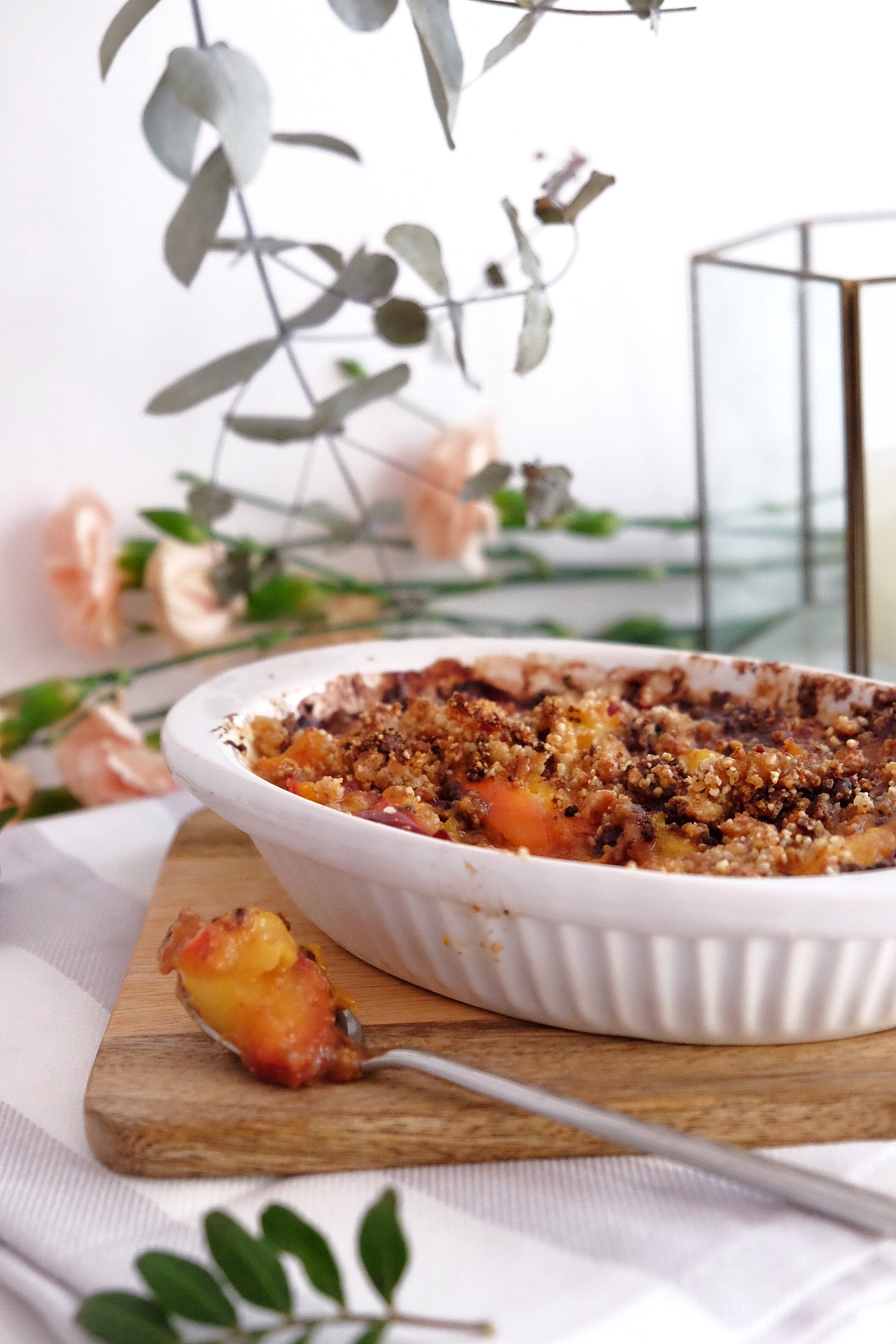 Apricots and nectarine crumble made with love