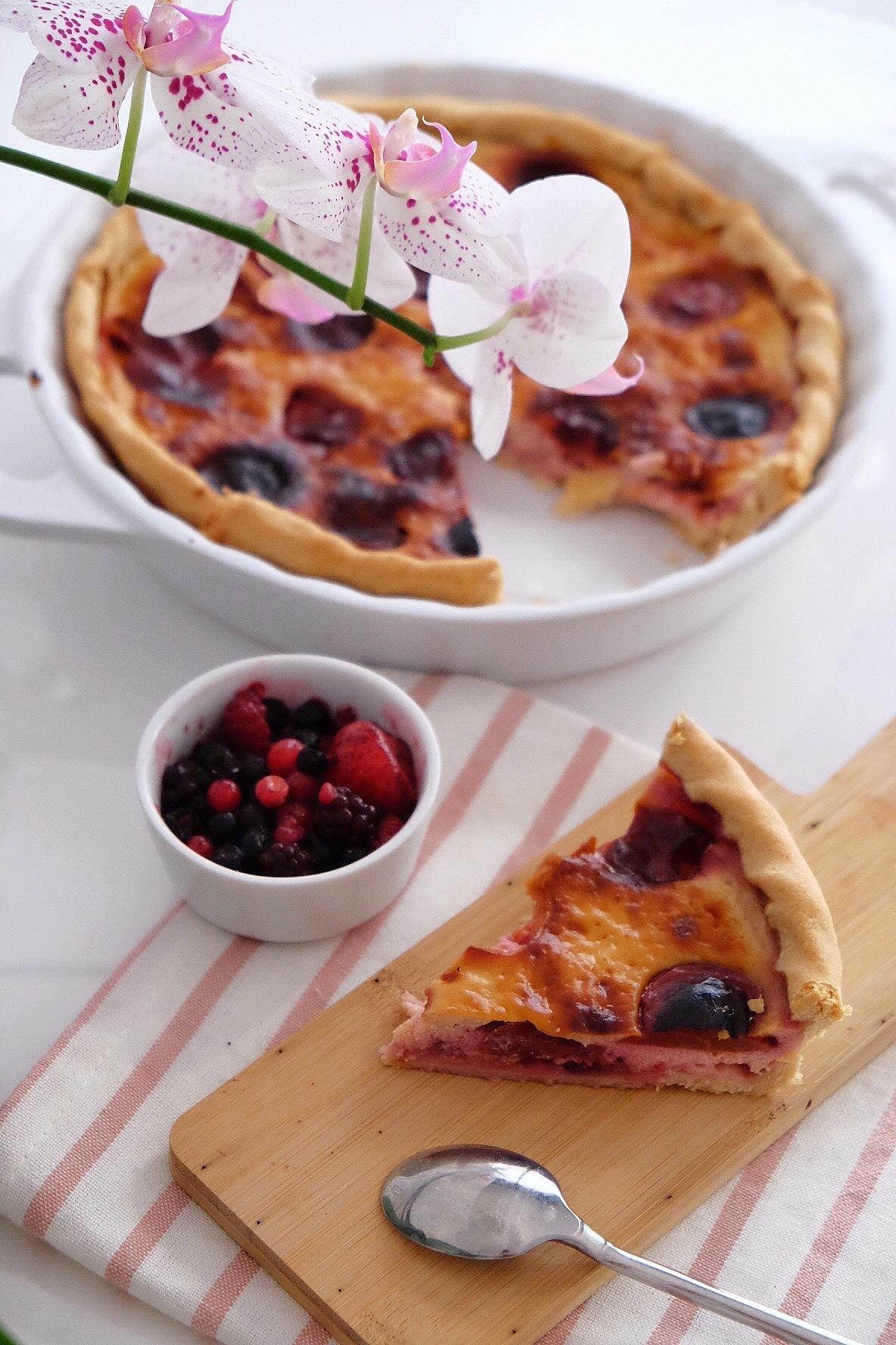 Delicious vegetarian plum pie