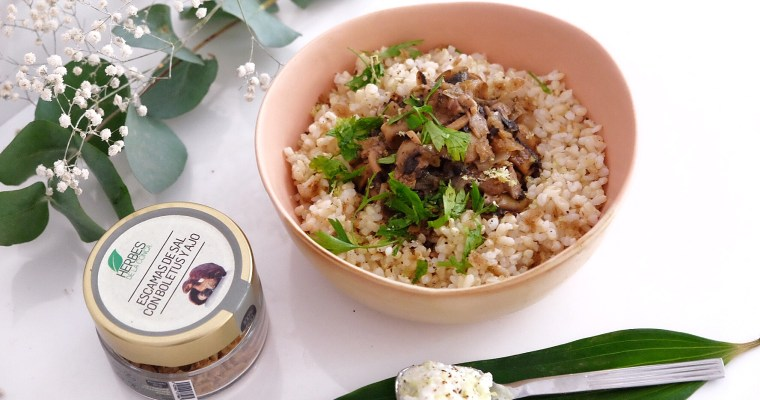 Mushrooms with cinnamon and brown rice