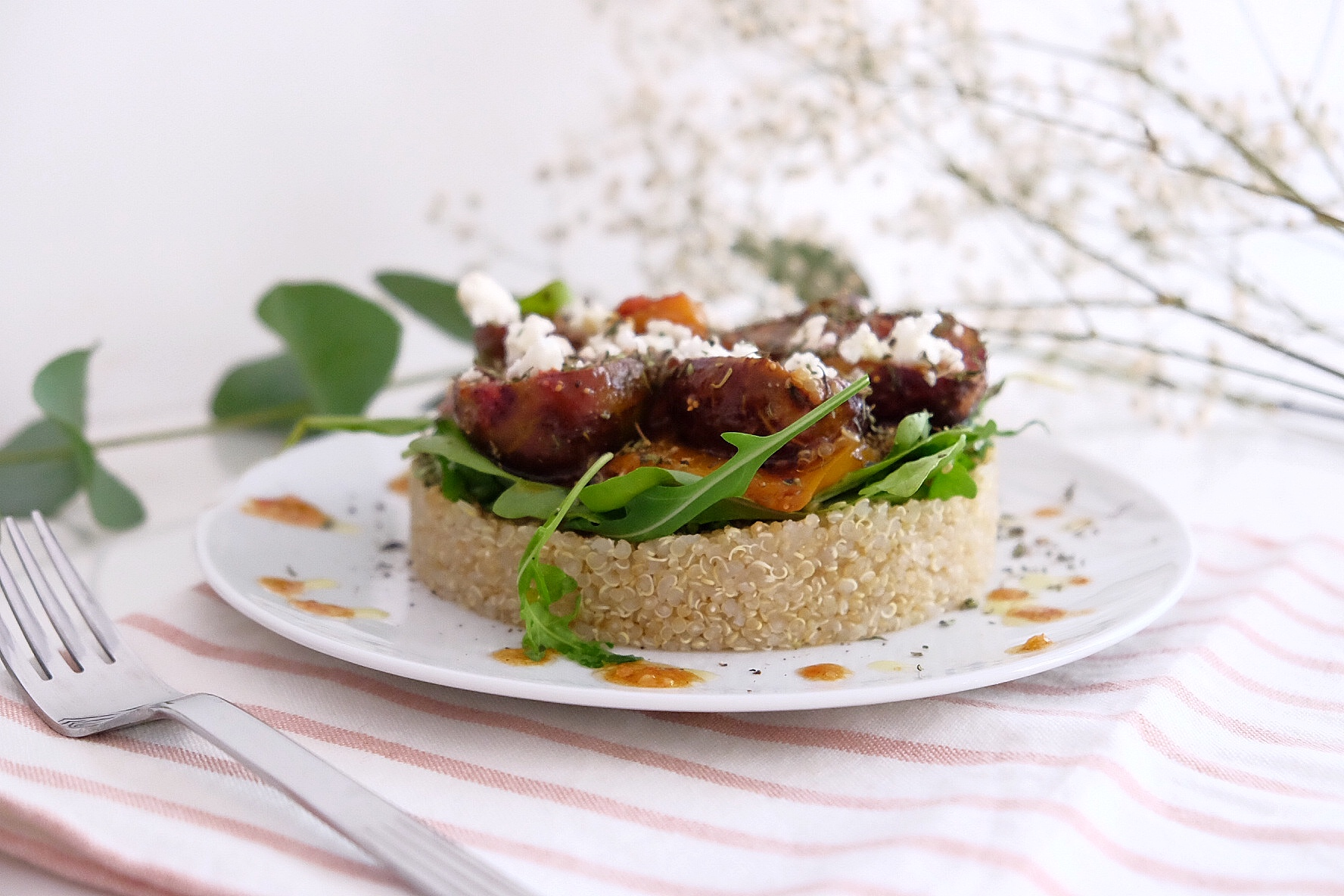 Fig, nectarine and feta salad