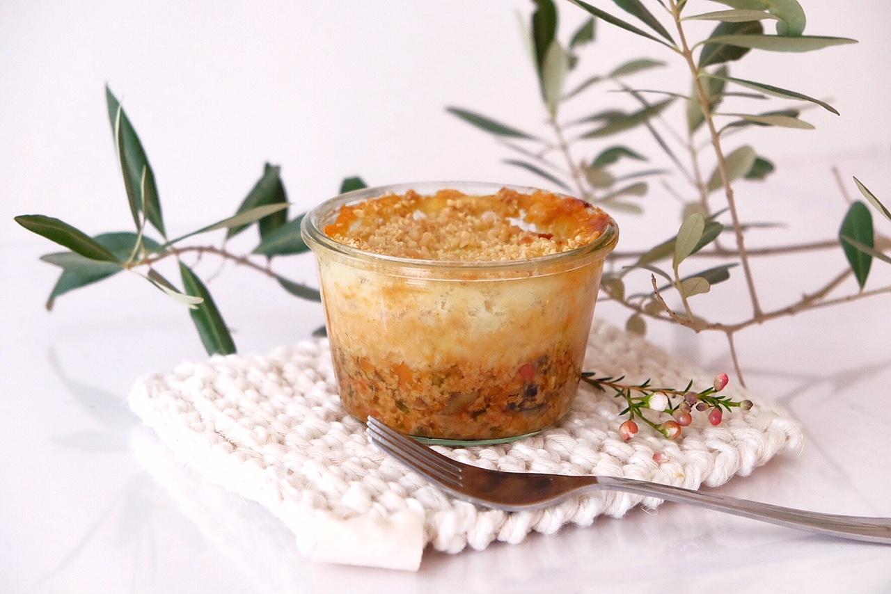 "Vegetarian ""Hachis Parmentier"" with seitan"