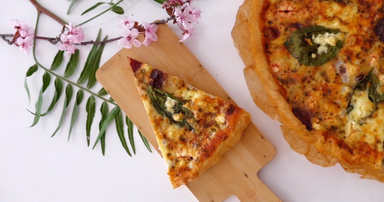 Quiche with beetroot, fresh basil, and feta cheese