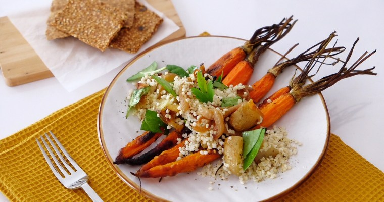 Baked carrots, flavored with rosemary and millet seeds