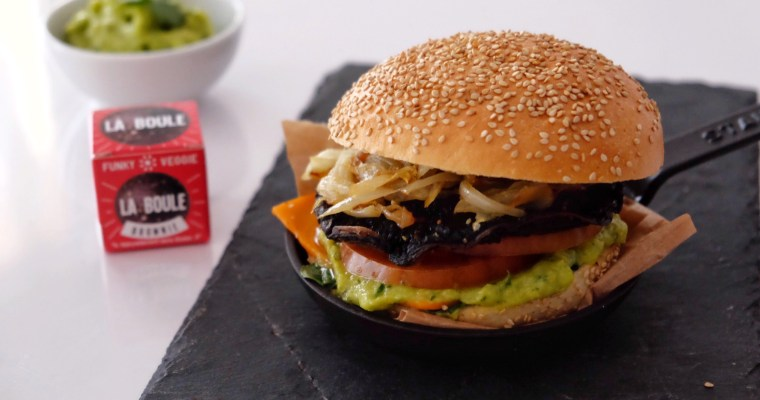 Vegetarian burger with Portobello mushrooms