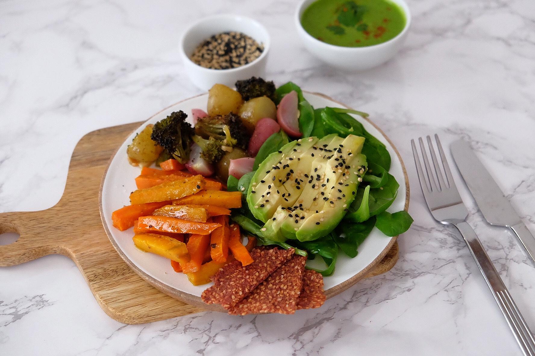 Roasted vegetable salad with green tahini sauce