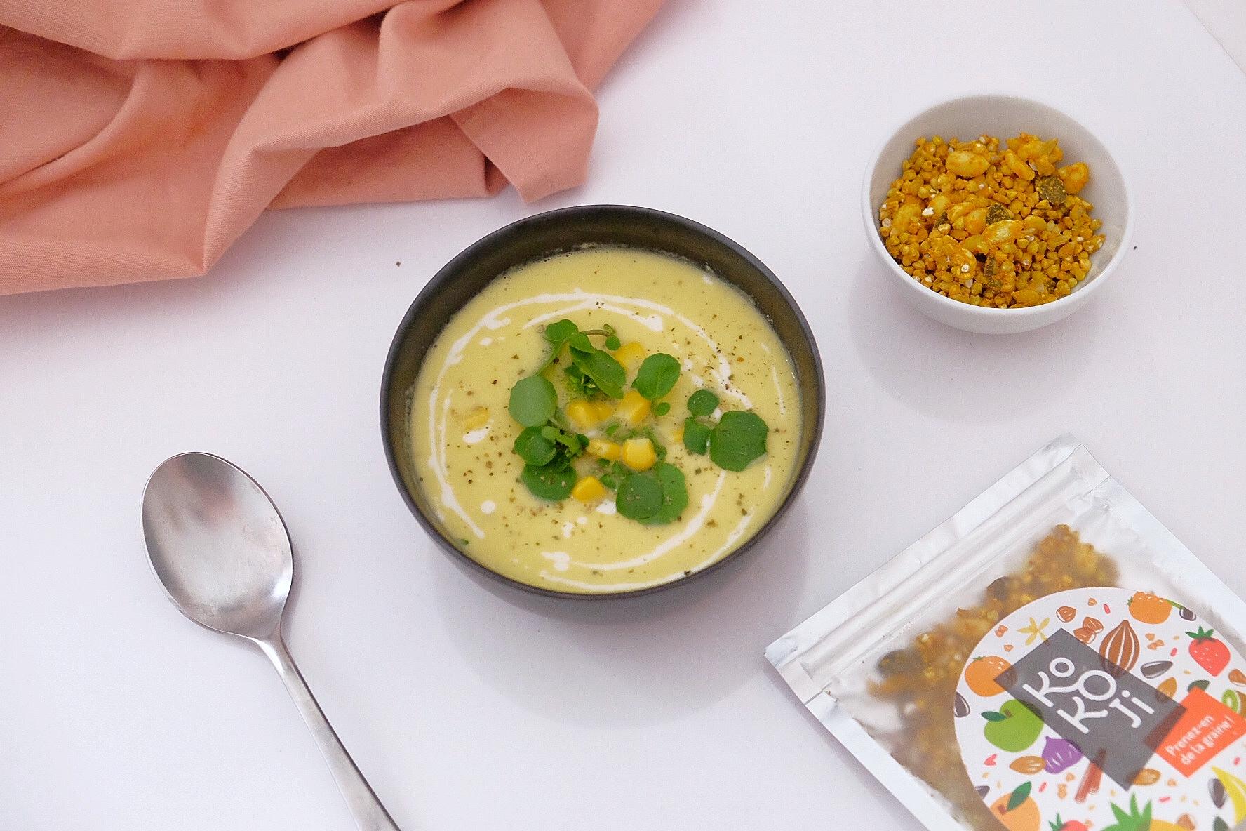 Sopa fría de maíz y calabacín