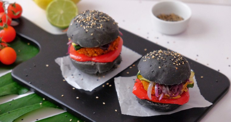 Black vegetarian burger with activated carbon