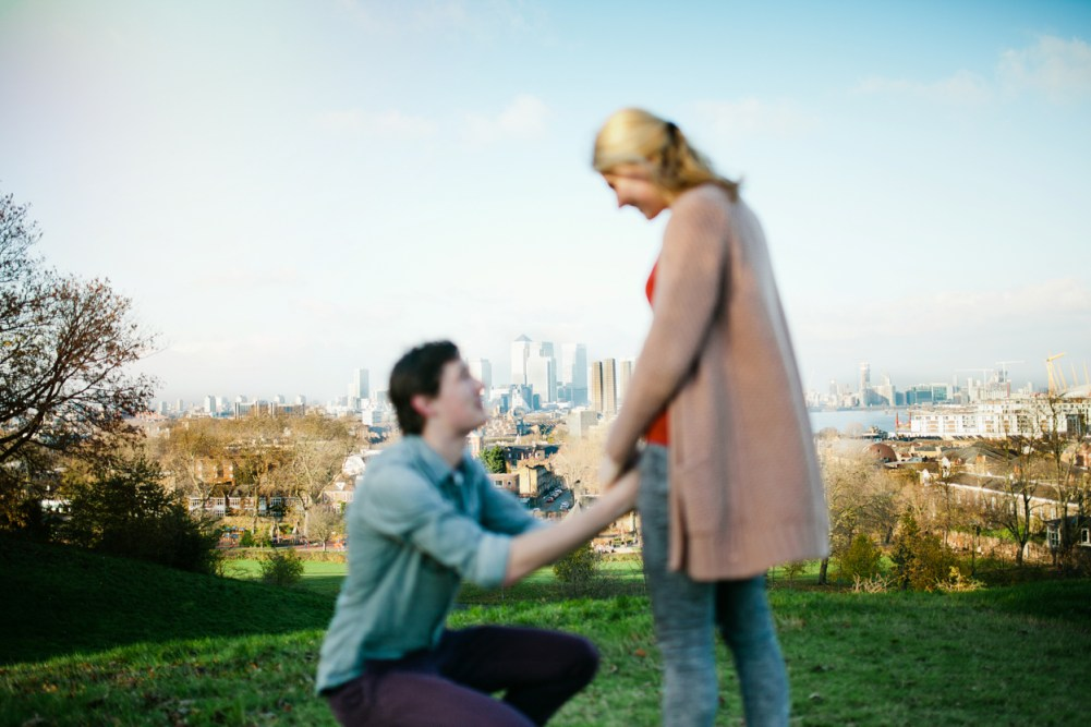 Photo shoot with Canary Wharf in the background by London wedding photographer