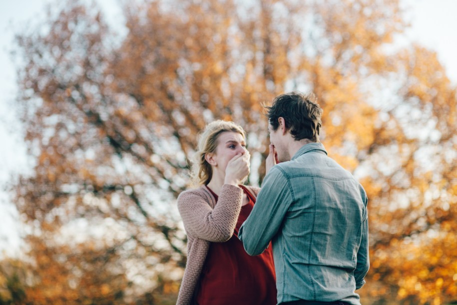 Photo shoot of a proposal in Greenwich Park in London
