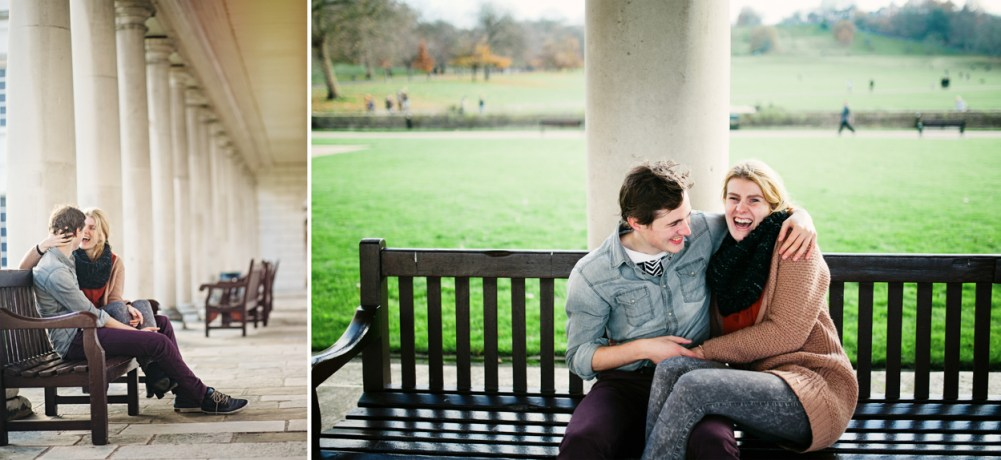 Couple sitting on a bench at Greenwich naval college by London wedding photographer