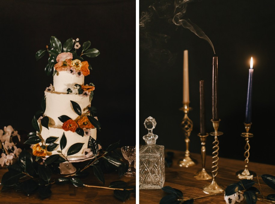 Lily Vanilli Organic Wedding cake with wild flowers and copper candle holders on a wood table