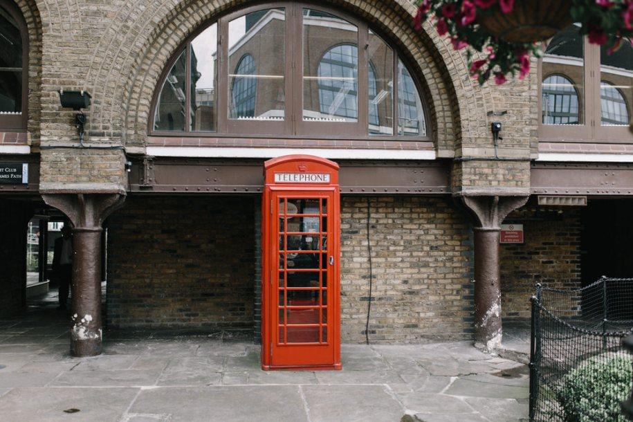 Red Telephone cabin in London, at St. Katherine's Docks