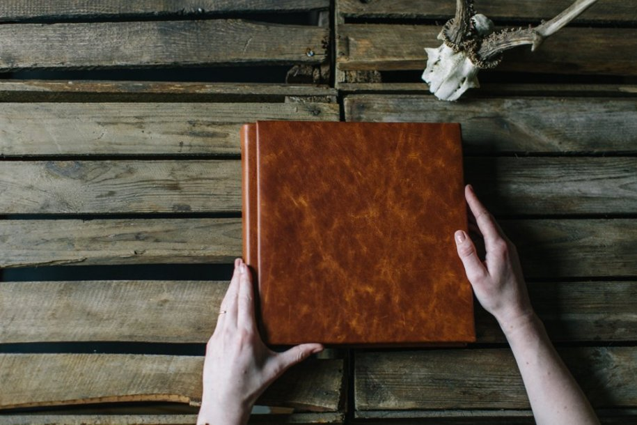 brown leather 25x25 wedding albums for photographers