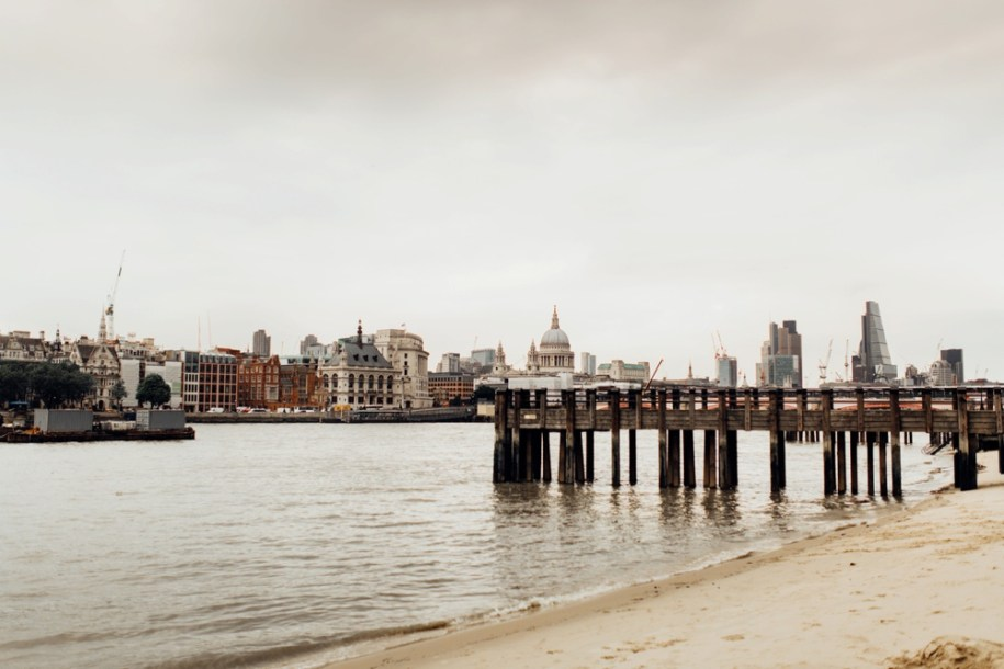Beach area on river Thames in South bank