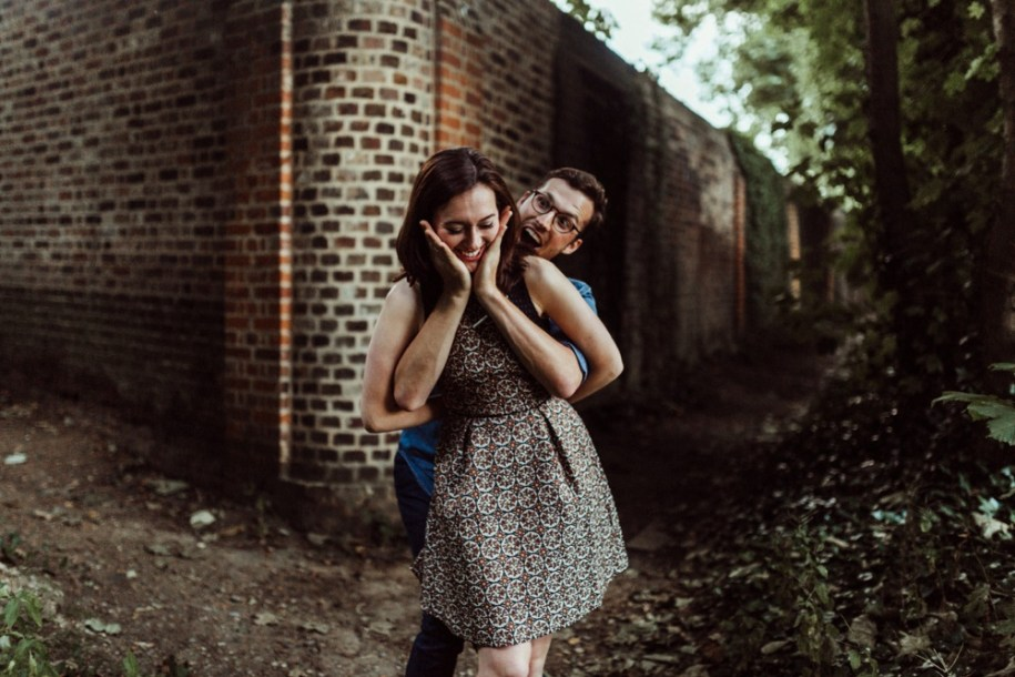 goofy couple for engagement shoot in London