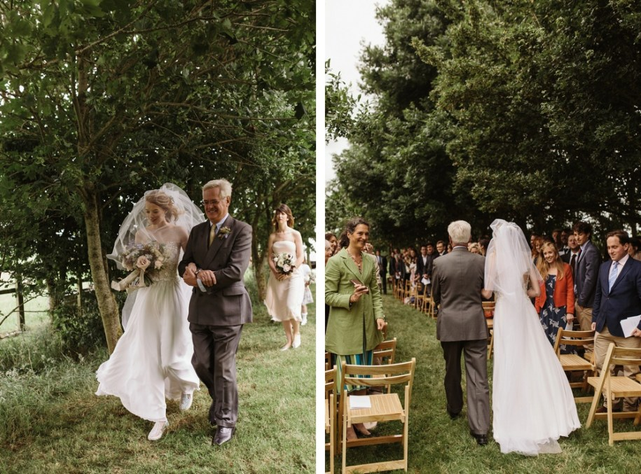 bride and father of the bride at garden wedding