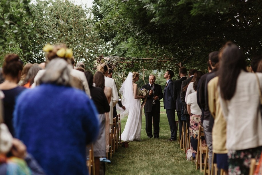 bride and groom at wedding ceremony for marquee wedding