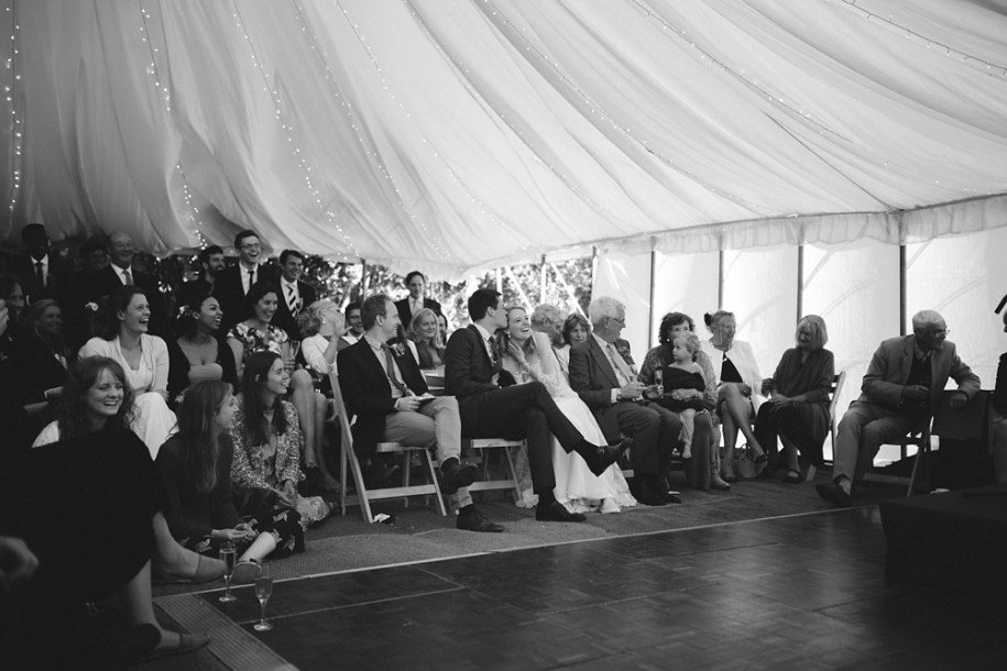 black and white marquee wedding speech time