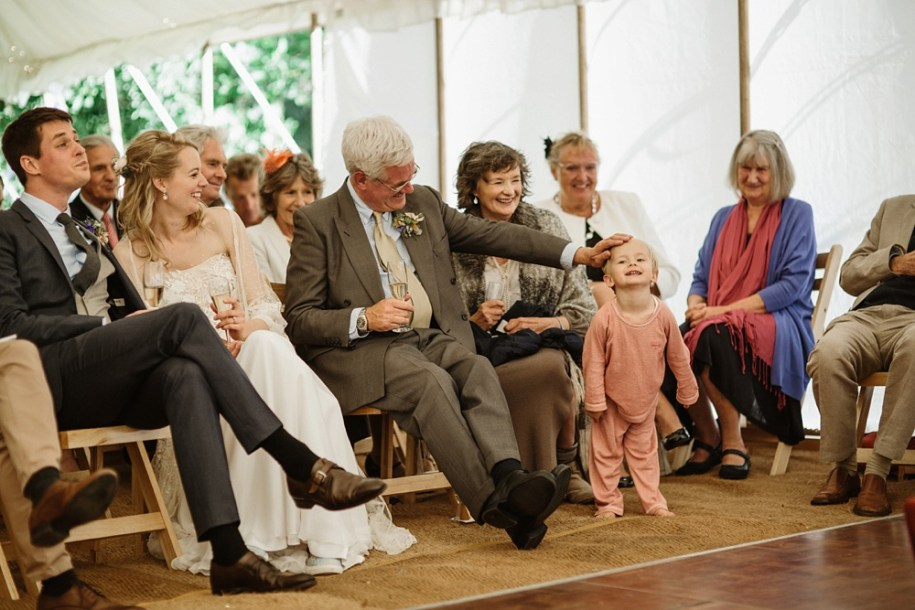 wedding guests in a marquee for an Oxfordshire wedding