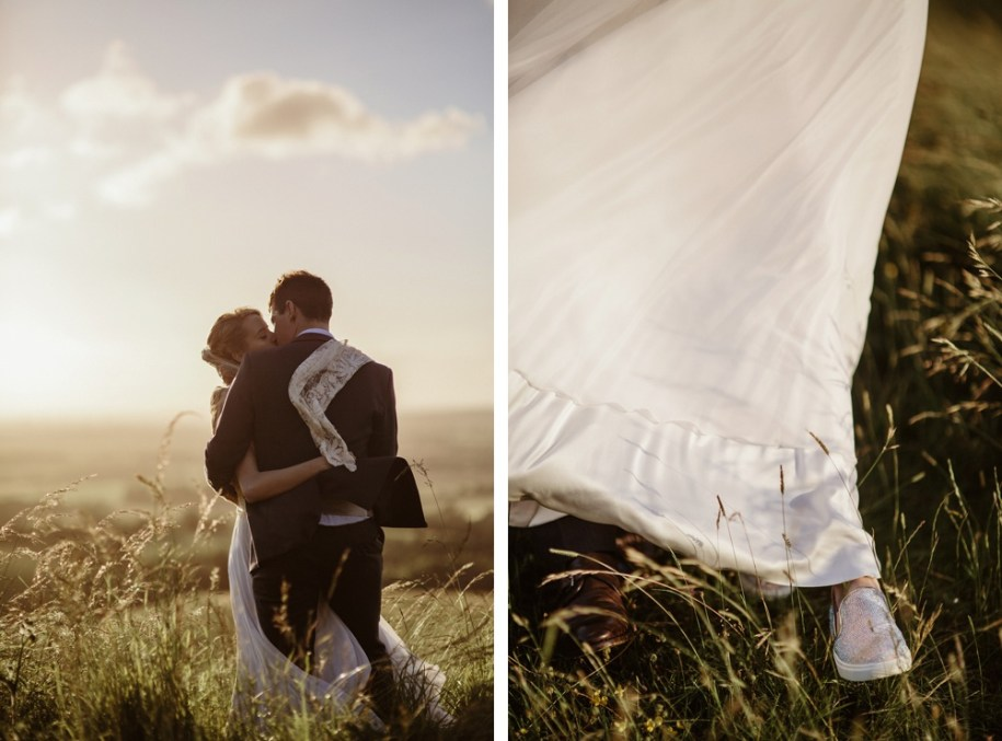 bride and groom during portrait shoot on White Horse hill in oxfordshire