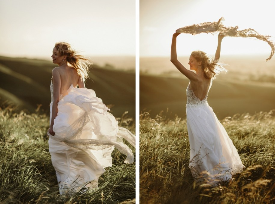 bride at sunset in oxfordshire