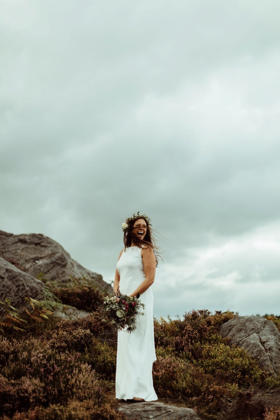 Boho bride among the rocks in Northumberland