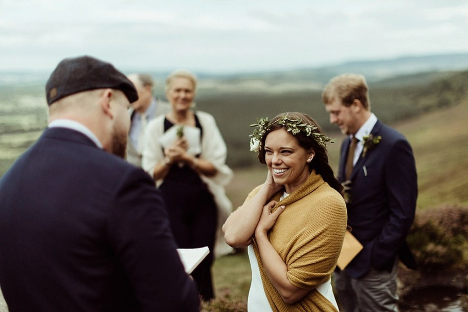 groom reading vows to bride for their elopement in Northumberland