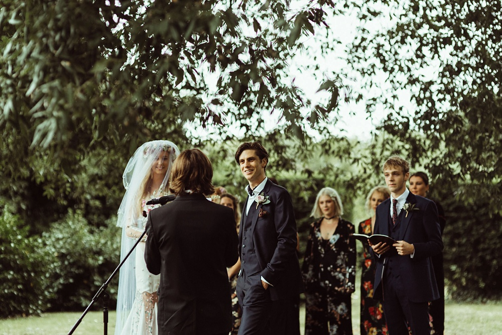 wedding ceremony under tree in New Forest