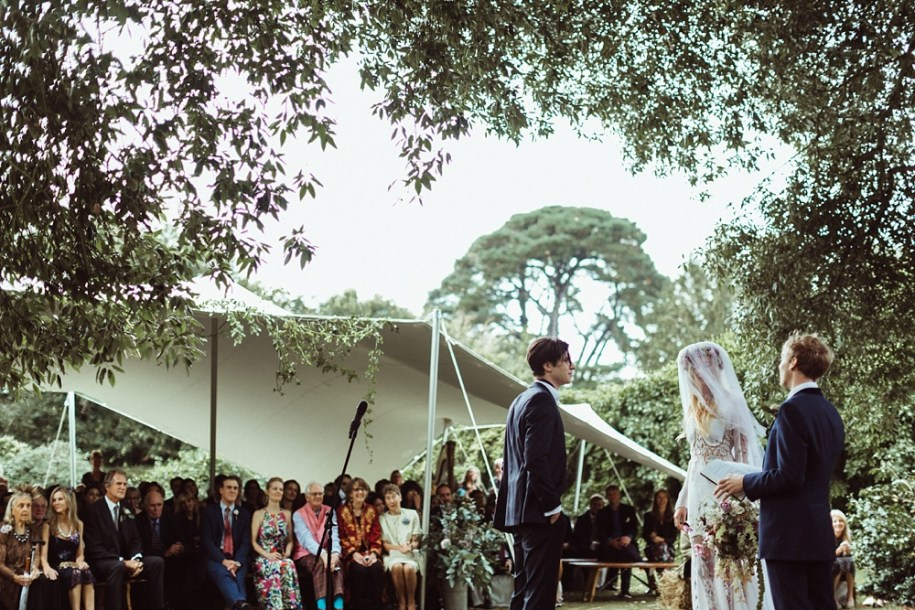 outdoor wedding ceremony under tree for New Forest wedding