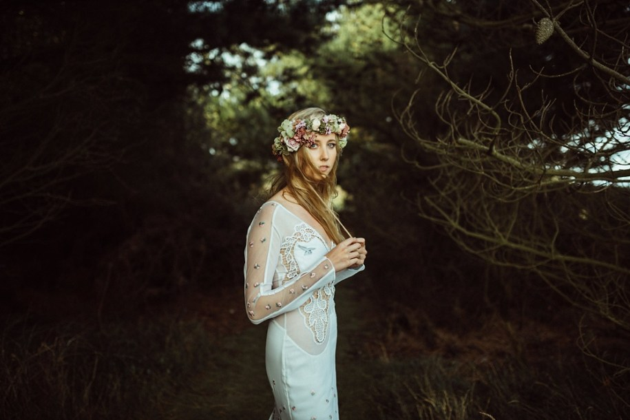 portrait of the bride with a flower crown on her head