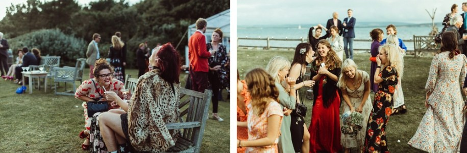 wedding guests on the sea shore in New Forest