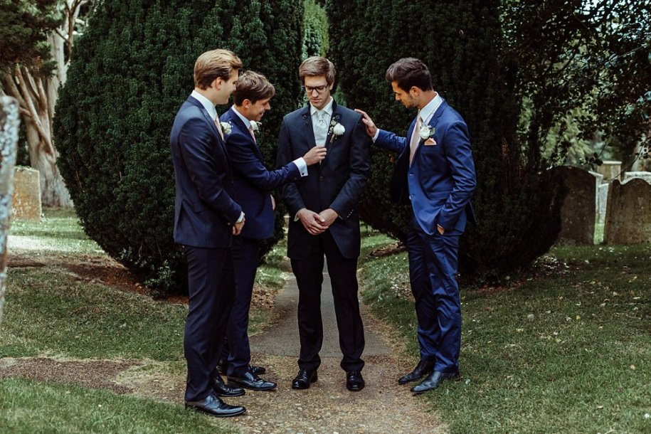 groom and groomsmen before wedding in Oxfordshire