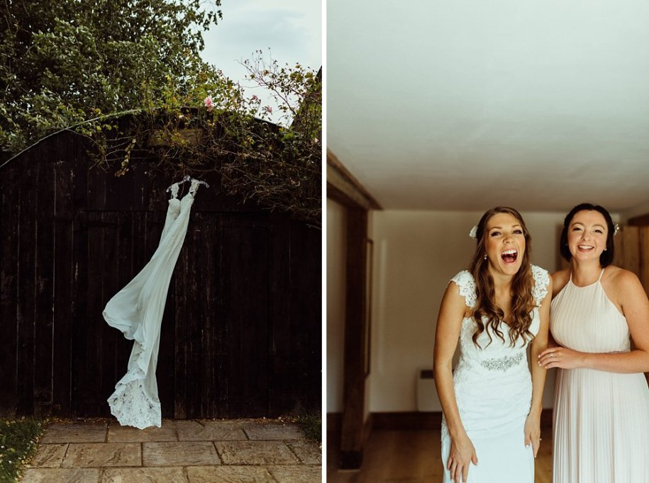 wedding dress and bride in Wiltshire county England