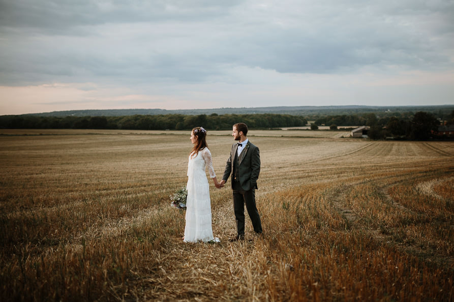 Sunset portraits at Wanborough Great Barn Wedding