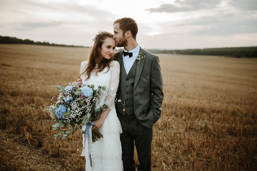 wedding portraits at Sunset during Wanborough Great Barn Wedding