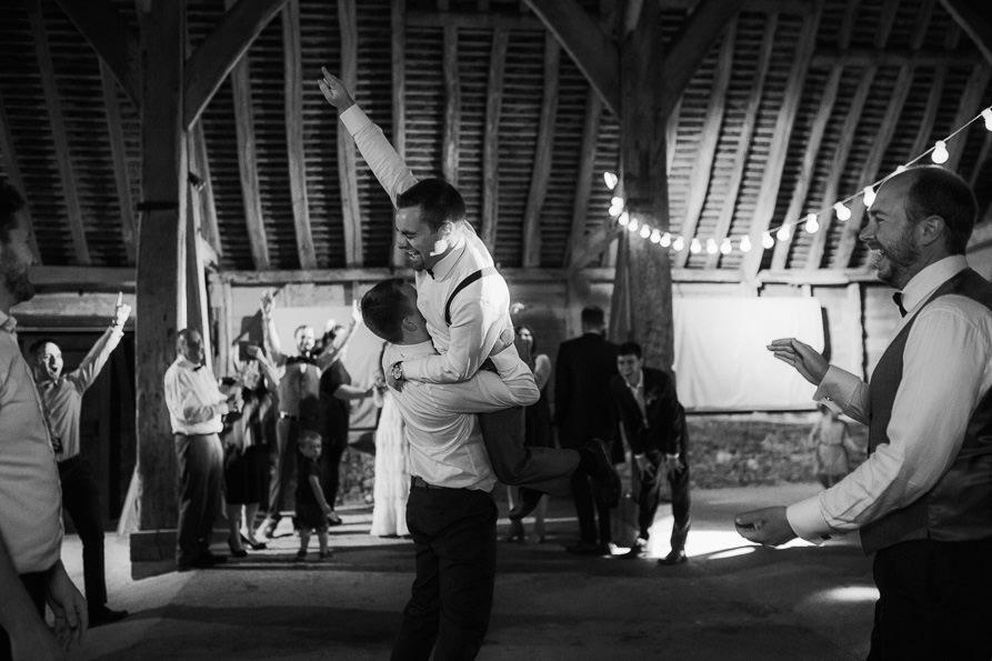 party at Wanborough Great Barn wedding