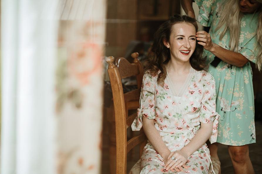 bride getting ready before Surrey wedding