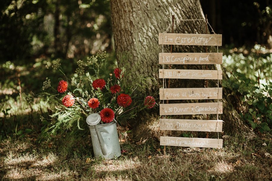 signs for wedding reception and ceremony area