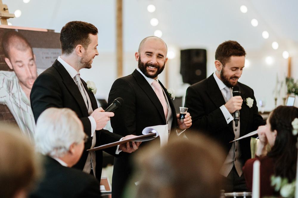 wedding speeches during dorset marquee wedding